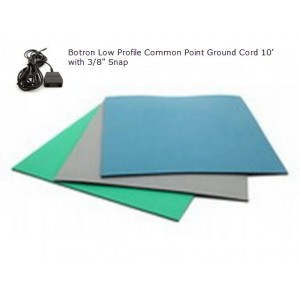 "B6125 Botron Type T2 Rubber 2-Layer Worktop Mat 24""x60""x0.60 Includes 3/8"" Female Snap & Common Point Ground Cord Color: Blue"
