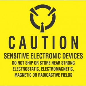 "CLABEL4 XLabel 4""x4"" Yellow/Black 100/Roll ""Caution Sensitive Electronic Devices"" (VSP)"