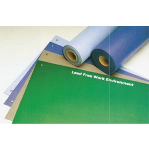"ACL Staticide Dualmat™ 2-Layer Diss/Cond Rubber Worktop Mat 30""x60""x0.80""  Light Blue/Black W/ 2 Snaps"