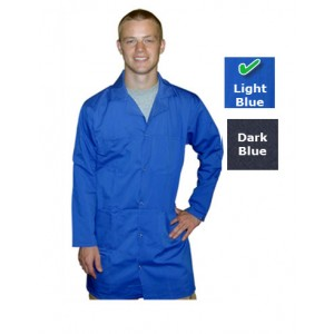 Transforming Technologies JLC 5402SPLB - JLC Series 5049 ESD Collared Lab Coat w/Snap Cuffs -Size: Small - Light Blue