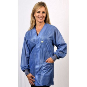"""HOJ-23C-XS Tech Wear Hallmark ESD-Safe 30""""L Traditional Jacket With ESD Cuff OFX-100 Color: Hi-Tech Blue Size: X-Small"""