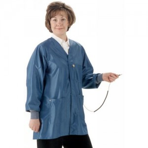"""HIJ-43C-S Tech Wear Hallmark ESD-Safe 32""""L Jacket With ESD Cuff & Ground Snap IVX400 Color: Royal Blue Size: Small"""
