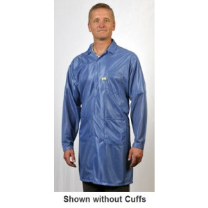 "Tech Wear ESD-Safe 40""L Traditional Coat With ESD Cuff OFX-100 Color: Hi-Tech Blue Size: X-Small"