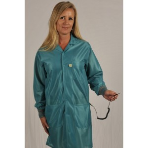 """Tech Wear ESD-Safe 37""""L Traditional Coat With ESD Cuff OFX-100 Color: TealSize: Small"""