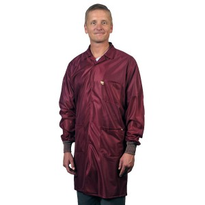 """Tech Wear ESD-Safe 40""""L Traditional Coat With ESD Cuff OFX-100 Color: Burgundy Size: Small"""