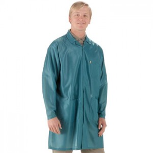 "Tech Wear ESD-Safe 32""L Traditional Coat OFX-100 Color: Teal Size: X-Small"