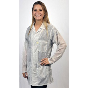 "Tech Wear ESD-Safe 32""L Traditional Jacket OFX-100 Color: White Size: Medium"