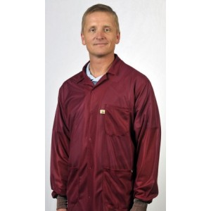 """LOJ-C Tech Wear ESD-Safe 31""""L Traditional Jacket With ESD Cuff OFX-100 Color: Burgundy Size: Small"""
