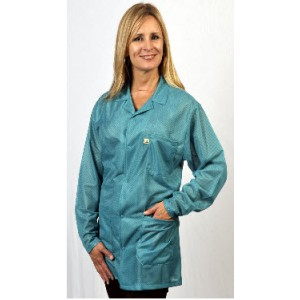 "Tech Wear ESD-Safe 32""L Traditional Jacket OFX-100 Color: Teal Size: Small"