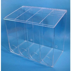 """Mcd-4000 Cleanroom Extra Large Multi-Use Dispenser 22""""Wx18""""Hx12""""Dx 1/4""""Thick Clear Acrylic 4-Compartment With Front Opening, Sloped Lid & Heavy Duty Mounting Bracket"""