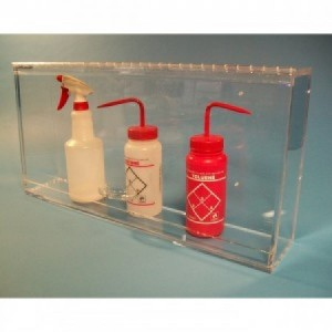 """S-Curve BH-2412 Cleanroom Bottle Dispenser 24""""Wx12""""Hx4""""D For 4-6 Bottles, 1/4""""Thick Clear High Impact PETG Material 1-Compartment With Cover Wall Mount (VSP"""