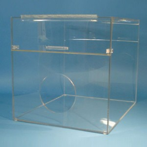 """S-Curve FLD-2400 Cleanroom Consumables Dispenser 20""""Wx16""""Hx16""""Dx 1/4""""Thick Clear Acrylic 1-Compartment With Front Round Hole Access & Front-Load & Full Hinged Lid (VSP)"""