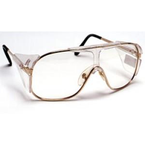 QVIS Pilot Safety Glasses Full Side Shields - UV Protective, Scratch Resistant, Anti-Fog, ANSI Z87.1 Clear Lens, Metal Gold Frame 12/Box
