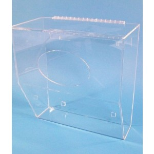 """S-Curve SBD-19LP Cleanroom Low Profile Storage Bin Dispenser 16.5""""x17""""x8""""Dx1/4"""" Thick Clear 1-Compartment With Front Access & Hinged Lid & Heavy Duty Mounting Bracket (VSP)"""
