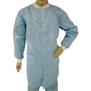 Epic Cleanroom Economy Disposable Lab Coat Polypropylene, Snap Front, Knit Wrist & Collar, 3 Pockets Color: Sky Blue Size: Small 50/Case