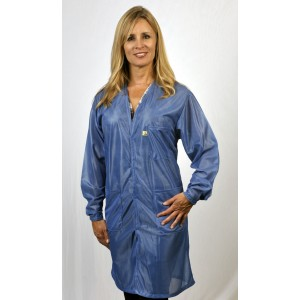 "Tech Wear Traditional ESD-Safe V-Neck 34""L Coat OFX-100 Color: Hi-Tech Blue Size: X-Small"