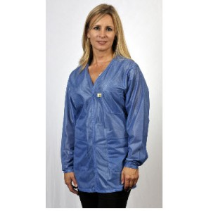 "VOJ-23-L Tech Wear Traditional  ESD-Safe 32""L V-Neck Jacket OFX-100  Color:Hi-Tech Blue Size: Large"