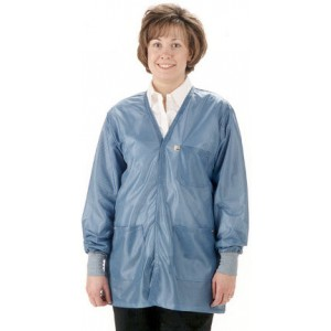 "Tech Wear Traditional ESD-Safe 32""L V-Neck Jacket With ESD Cuff OFX-100 Color: Hi-Tech Blue Size: 2X-Large"