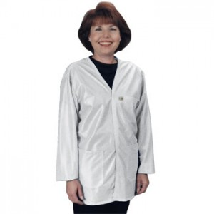 """Tech Wear Traditional ESD-Safe 32""""L V-Neck Jacket OFX-100 Color: White Size: X-Small"""