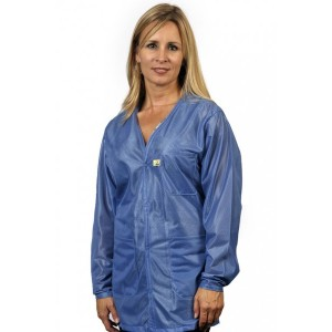 "VOJ-23C-S Tech Wear Traditional ESD-Safe 32""L V-Neck Jacket With ESD Cuff OFX-100 Color: Hi-Tech Blue Size: Small"