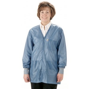 """Tech Wear Traditional ESD-Safe 32""""L V-Neck Jacket With ESD Cuff OFX-100 Color: Hi-Tech Blue Size: 3X-Large"""