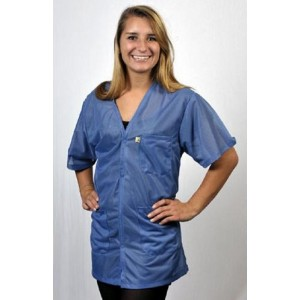 "Tech Wear Traditional ESD-Safe 32""L V-Neck Short Sleeve Jacket OFX-100 Color:Hi-Tech Blue Size: Large"