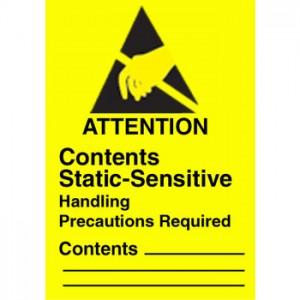"""VSP Label 1-3/4""""x2-1/2"""" Yellow/Black 500/Roll """"Contents Static Sensitive"""" (VSP)"""
