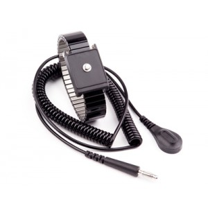 Transforming Technologies WB6000 Series Single Wire Adjustable Premium Black Metal Wrist Strap With 12' Coil Cord 4mm Snap (VSP