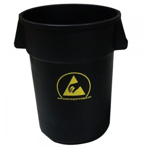 WBAS180 Transforming Technologies ESD Safe Waste Basket: 44 Gallon Black