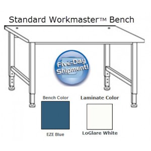 "QS-1000005-BL IAC Industries Workmaster™ Series Quick Ship Standard Bench, EZE Blue, Adjustable Height, 30""D x 96""W"