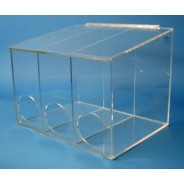"S-Curve Cleanroom Glove Dispenser 16""Wx12""Hx12""Dx 1/4""Thick Clear Acrylic 3-Compartment With Sloped Lid"
