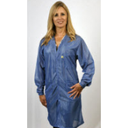 "Tech Wear Traditional ESD-Safe V-Neck 37""L Coat OFX-100 Color: Hi-Tech Blue Size: Small"