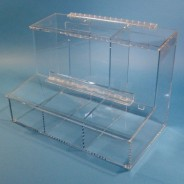 "S-Curve Cleanroom 3-Compartment Dispenser 17""Wx12""Hx9.25""Dx 1/4""Thick Clear High Impact PETG Material  For Finger Cots, Ear Plugs, Etc, With Access Tray & Hinged Lid"