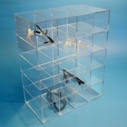 """S-Curve Cleanroom Safety Glass Dispenser 15""""Wx12""""Hx7""""Dx1/8""""Thick Clear Acrylic For 20 Pairs"""