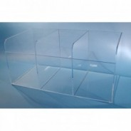 "S-Curve Cleanroom Multi-Use Extra Large Dispenser 25""x11.5""x13""Dx1/4"" Thick Clear High Impact PETG Material 3-Compartment Open Top"
