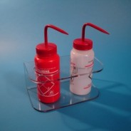 """S-Curve Cleanroom Bottle Dispenser 9""""Wx4""""Hx5""""D W/3"""" Hole Diameter, 1/4""""Thick Clear High Impact PETG Material 2-Compartment Wall Mount"""