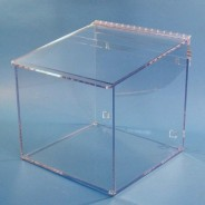 "S-Curve Cleanroom Glove Dispenser 12""Wx12""Hx12""Dx 1/4""Thick Clear Acrylic 1-Compartment With Sloped Lid"