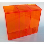 "S-Curve Cleanroom Multi-Use Dispenser 18""Wx16""Hx6""Dx 1/4""Thick Amber Acrylic 3-Compartment With Front Opening & Sloped Lid"