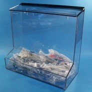 """S-Curve Cleanroom Safety Glass Dispenser 12""""Wx16""""Hx12""""Dx1/4""""Thick Clear Acrylic With Open Front Tray & Hinged Lid"""