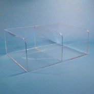"""S-Curve Cleanroom Multi-Use Dispenser 18""""x7""""x13""""Dx1/4"""" Thick Clear Acrylic 2-Compartment With Lid"""