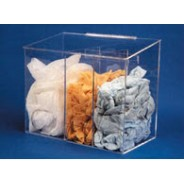 """S-Curve Cleanroom Medium Sized Multi-Use Dispenser 15""""Wx14""""Hx9""""Dx 1/4""""Thick Clear High Impact PETG Material 3-Compartment With Front Opening, Sloped Lid & Heavy Duty Mounting Bracket"""