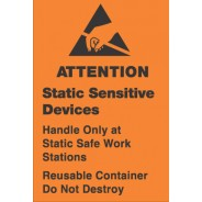 "VSP 309-0404 Label 4""x4"" Removable Orange/Black 500/Roll ""Static Sensitive Devices and Reusable Container"" (VSP)"
