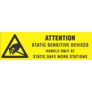 "VSP 308-5802 Label 5/8""x2"" Yellow/Black 500/Roll ""Attention Sensitive Devices"" (VSP)"