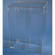 "S-Curve Cleanroom Multi-Use Dispenser 12""Wx16""Hx6""Dx 1/4""Thick Clear Acrylic 2-Compartment With Front Opening & Sloped Lid"