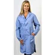 "Tech Wear Nylostat ESD-Safe 40""L Coat Cotton/Poly Woven Color: Nasa Blue Size: Medium"