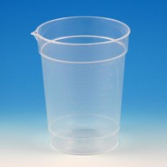 5925 Globe Scientific GS5925 Specimen Container, 6.5oz, Paper Lid Included in Each Pack, Pour Spout, PS, Graduated, beaker