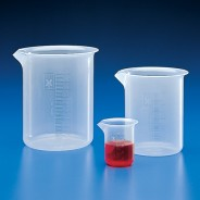 Globe Scientific 601801 Beaker Griffin Style Low Form 25mL Polypropylene With Molded Graduations