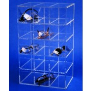 """S-Curve Cleanroom Safety Glass Dispenser 9.5""""Wx16""""Hx7""""Dx1/4""""Thick Clear Acrylic For 15 Pairs"""