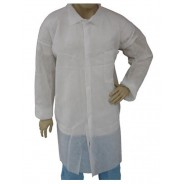 Epic Cleanroom Disposable Light Weight Lab Coat Polypropylene, Snap Front, Open Wrist, Breast Pocket Color: White Size: Large 50/Case