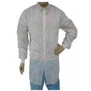 Epic Cleanroom Disposable Heavy Weight Lab Coat Polypropylene, Snap Front, Knit Wrist, No Pocket Color: White Size: Large 50/Case